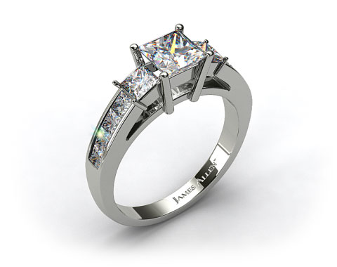 14k White Gold Princess Shaped Three Stone Channel Set Diamond Engagement Ring